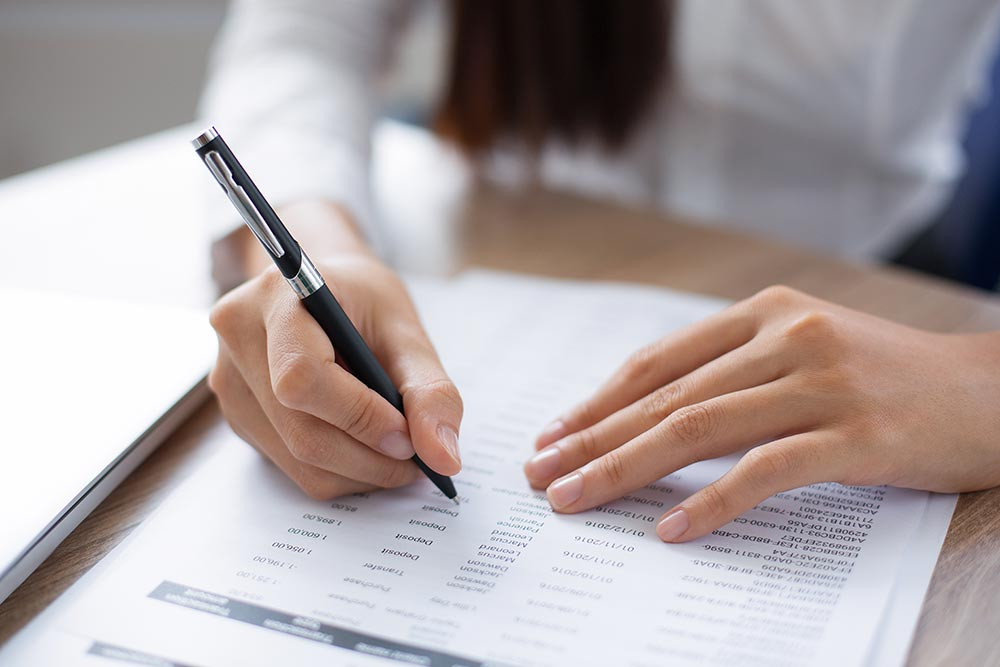 Woman filling out application